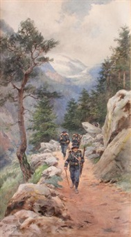chasseur alpins sur un sentier by pierre comba