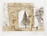 washington gate (with christmas tree) by salvador dalí