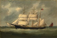 "the ""charles m. watts"" at sea by marie-edouard adam"