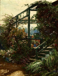 in an old garden, the artist's garden, pacific grove by william adam