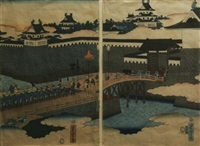 procession over a castle bridge (diptych) by utagawa yoshitora