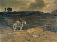 frate con somarello nel paesaggio collinare (after lorenzo delleani) by armando vaccari