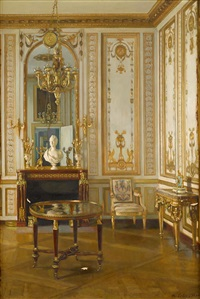french interior, said to be marie antoinette's study by maurice lobre