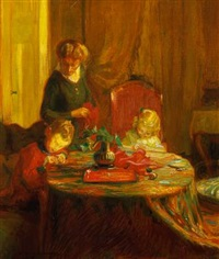 interior with mother and two children by hermann angermeyer