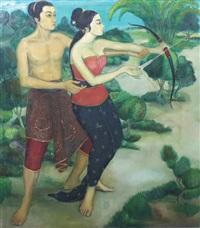 arjuna teaching srikandi with a bow and arrow by j. soedhiono