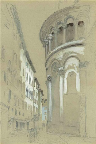 apse at the east-end of the cathedral of san martino, lucca, italy by john ruskin