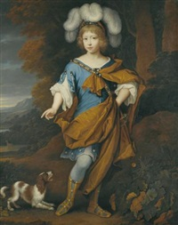 portrait of a boy, aged 6, standing full-length, wearing blue costume with a yellow cloak by john van der vaart