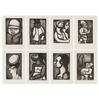 homme au casque tropical; homme au chapeau; pedagogue; femme hideuse; l'administrateur; negresse en profil; femme au chapeau en profil; deux femmes in profil by georges rouault
