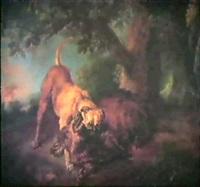 wildschwein unter einer eiche, von einem hund hingestreckt by juriaen jacobsz