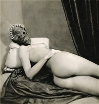 masked nude lying on satin by stephane graff