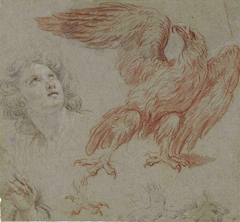 male head and an eagle study by noël nicolas coypel