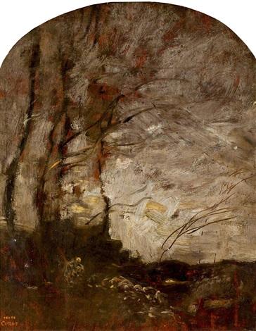 arbres penchés au bord d'un torrent (effet de nuit) by jean-baptiste-camille corot