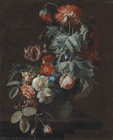 carnations tulips roses morning glory and other flowers in a glass vase on a stone ledge by simon pietersz verelst