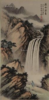 瀑布 立轴 纸本 by huang junbi