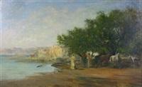 chasse aux hérons sur le lac fedzara by victor pierre huguet