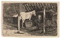 interno di stalla con cavalli by giovanni fattori
