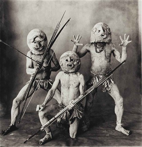 three asaro mudmen new guinea by irving penn