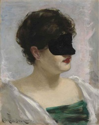 lady with a black mask by james carroll beckwith