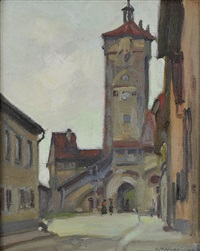 tower with two figures by ernest martin hennings