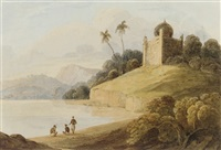 figures by a river with an indian temple beyond by charles (sir) d'oyly