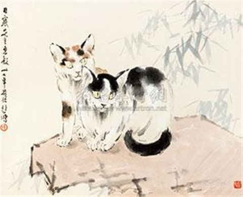 双猫图 double cats by xu beihong