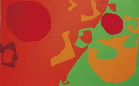 small diagonal with scarlet, emerald and orange fragments:- january 1975 by patrick heron