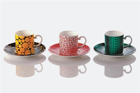 彩色水玉 rainbow polka dot set of 6 by yayoi kusama