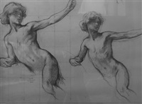 nu (studies; 2 works) by henri léopold lévy