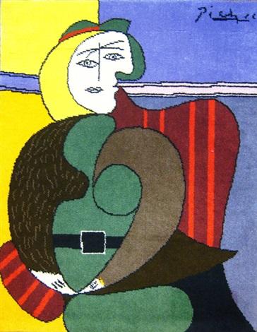 tapis femme assise dans un fauteuil rouge by pablo picasso