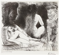 peintre avec deux modèles (painter with two models), for 60 series by pablo picasso
