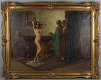 orientalen mit weiblicher sklavin by eduard ansen-hofmann