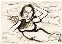 lea (als engel) (+ ächtet die atomwaffen!, etching, lrgr; 2 works) by hans grundig