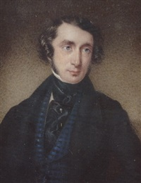 a gentleman with side-whiskers, wearing black coat, checked blue waistcoat, black stock and frilled cravat by f. courtenay