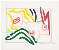 study for bedroom blonde, black and green pillows by tom wesselmann