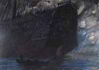 ghostly ship (bk illus. for benito cereno by herman melville) by robert shore