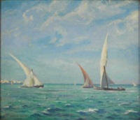 sailing boats on the clyde by leslie kent