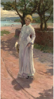 summer time, a young lady in a white dress before a beach by a.g. wallis