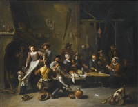 tavern with merrymakers and cardplayers by willem van herp the elder