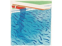 pool made with paper and blue ink for book, together with the accompanying book paper pools by david hockney