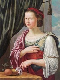 bildnis einer adeligen dame als pomona, auf welche die symbole der römischen göttin der früchte verweisen by german school-augsburg (16)