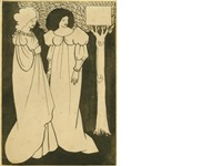 two fin-de-siècle women in flowing dresses, against a black background, standing by a tree by aubrey vincent beardsley