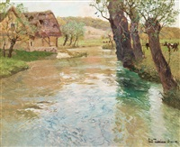 river landscape, arques, dieppe by frits thaulow