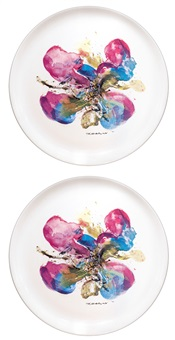 蘭花 (limited orchis porcelain) (set of 2) by zao wou-ki