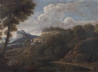 a river landscape with figures and a mountain in the distance by gaspard dughet