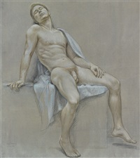 seated male nude (nm 96) by paul cadmus