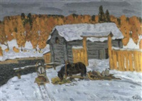 attelages dans la neige by vladimir bobrov