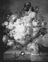 still life of flowers in a ceramic bowl on a marble ledge by francois gabriel
