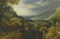 mountain landscape with country folk dancing and merrymaking outside taverns by a small lake, a maypole in the distance by joos de momper the younger