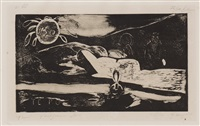 te po (la grande nuit) from noa noa series by paul gauguin