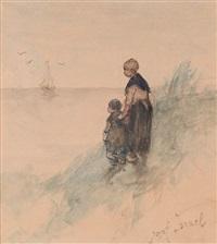 mutter und kind warten auf die heimkehr by jozef israëls